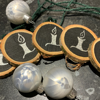 Set of 5 Unique Natural Wood Slice Silver Candle Tree Charms, Decorations