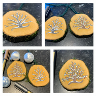 Natural Wood Slice hand-painted Double Sided Christmas Tree Decoration