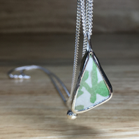 Handmade Green & White Sea Pottery and Silver Pendant & Silver Necklace