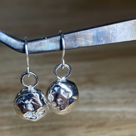 Handmade Chunky Recycled Melted Silver Dangle Earrings