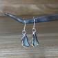 Handmade light teal welsh sea glass & silver dangle earrings