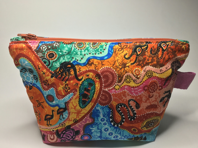 Colourful Fabric Make Up Bag With Zipped  Interior Pocket