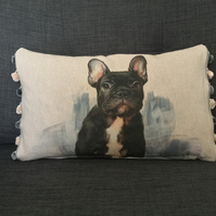 French Bulldog Linen Cushion With Pom Poms NOW 20% OFF