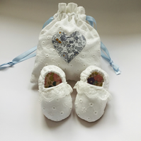 Baby Wedding Shoes in Broderie Anglaise & Liberty Fabric FREE U.K. POSTAGE