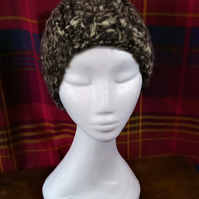 Handspun, Hand-knitted Brown Marl Hat in Jacobs Wool