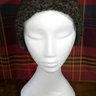Handspun, Hand-knitted Hat in Pure Texel Wool with Rolled Cuff
