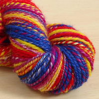 Circus - hand spun and dyed Kent Romney and Rose yarn, 120g, 155m, Worsted 2 ply