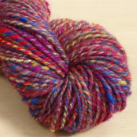 Magician - hand spun and dyed Kent Romney and Rose yarn, 110g, 94m, Worsted 3 pl