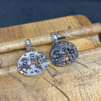 Small steampunk watch movement cufflinks
