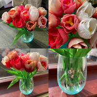 10 Red and Pink Paper Tulips in a vase