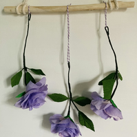 Driftwood and paper rose wall hanging