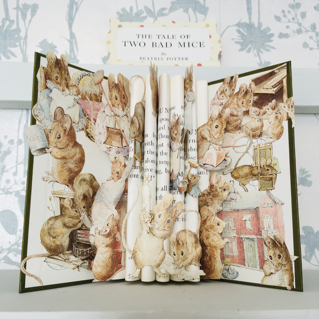 Beatrix Potter's Tale of Two Bad Mice book sculpture