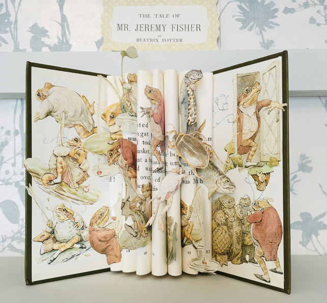 Beatrix Potter's 'The Tale of Jeremy Fisher' book sculpture