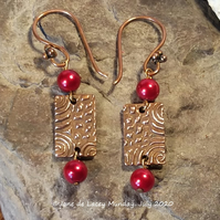 Copper Drop Earrings with Red Beads