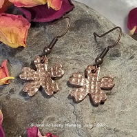 Copper Textured Flower Earrings