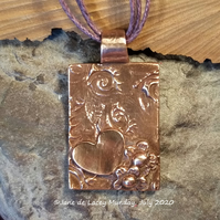 Copper Hearts and Flowers Pendant