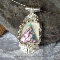 Wood Texture Pink & Clear Dichroic Glass Pendant