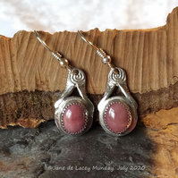 Fine Silver and Rhodonite Drop Earrings