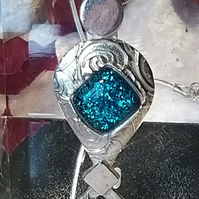 Fine Silver Pendant with Turquoise glitter fused glass Cabachon