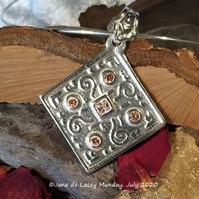 Handcrafted Fine Silver Pendant with Cubic Zirconium