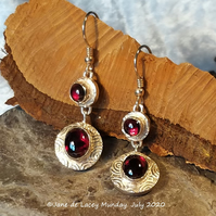 Fine Silver and Garnet Drop Earrings