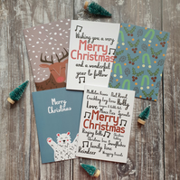 Mixed Christmas Cards - Set of 5 cards