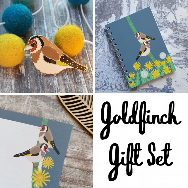 Goldfinch Gift Set - Hard Enamel Pin, A6 Notebook and Gift Note