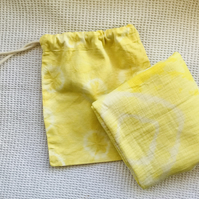 Sunny yellow, cotton baby swaddle blanket with matching bag,plant dyed with weld