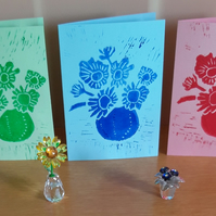 Pack of 3 Notelets A6 Hand Printed Linocut in Pink Green & Blue