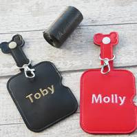 Dog Poop Bag Holder and Dispenser, Personalised with Pet Name,