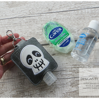 Happy Skull Hand Sanitiser Holder, Machine Embroidered with Lobster Clasp