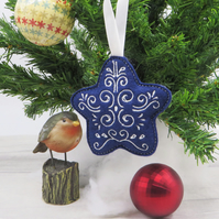 Embroidered Felt Christmas Decoration, Personalisable Tree Ornament