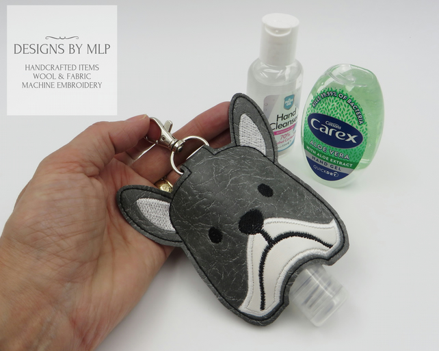 Dog Hand Sanitiser Holder, Embroidered Hand Gel pouch with lobster clasp