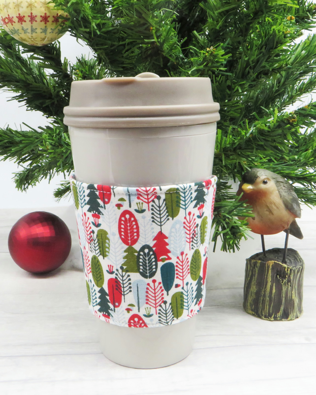 Eco Friendly Reversible and Reusable Coffee Cup Cosy, Fabric cup sleeve