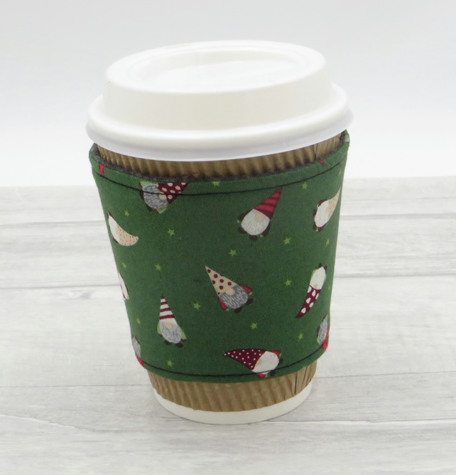 Cup Cosy Sleeve in Christmas Fabric, Reversible and Reusable Cup Holder,