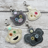 Cute Toy Animal Head Keyring with Stitched Button Eyes, Monkey, Koala, Pig, Owl,