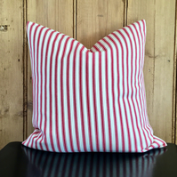 "Red and Cream Ticking Striped Cushion Cover 16"" x 16"""