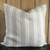 Duck Egg Blue Striped, Washed French Linen, Cushion Cover