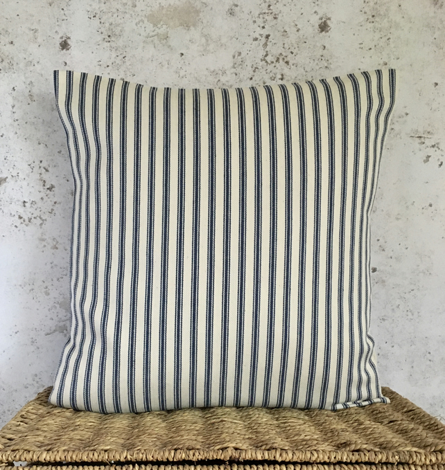 "Blue and Cream Ticking Cushion Cover 18"" x 18"")"