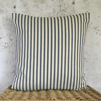 "Blue and Cream 16"" x 16"" Ticking Cushion Cover"