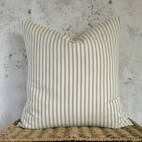 Beige and off white striped ticking cushion cover