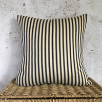 "Ticking Cushion Cover with Black Stripes 16"" x 16"""