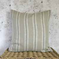 "Linen Cushion Cover with Ash Grey Stripes 16"" x 16"""