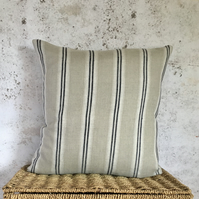 Beige and Charcoal Grey, Washed Linen, Cushion Cover