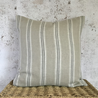 "Beige Linen Cushion Cover with Ash Grey Stripes 18"" x 18"""
