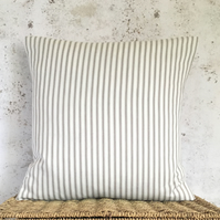 "Dark Beige and Ivory Ticking Cushion Cover 16"" x 16"""
