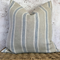 """Blue Striped, Washed French Linen, Cushion Cover 16"""" x 16"""""""