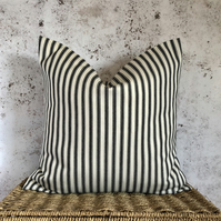 "Black and Cream Traditional Ticking Striped Cushion Cover  (16"" x 16"")"