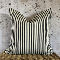 "Black and Cream Ticking Cushion Cover (18"" x 18"")"