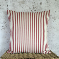"""Red and Cream Ticking Cushion Cover 16"""" x 16"""""""